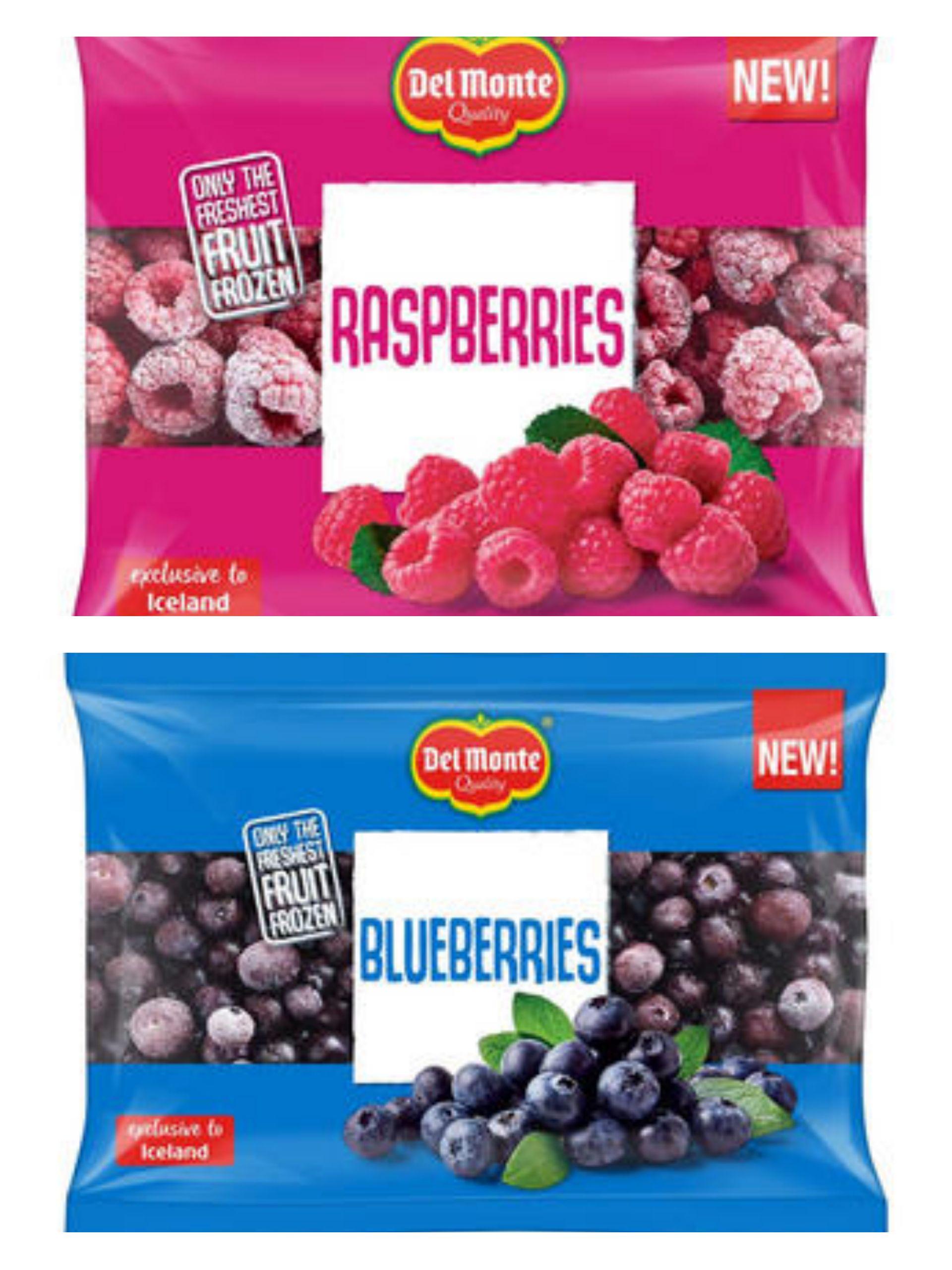 Del Monte Blueberries 400g / raspberries 300g 2 for £3 @ Iceland
