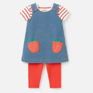 Joules Baby Girls Denim Strawberry Pinafore Dress, 3 Piece Outfit, £15.16 delivered using code @ eBay / Joules