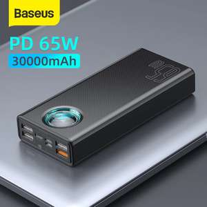 Baseus 65W Power Delivery 30000mAh power bank with Quick Charge and USB-C for £39.65 delivered with coupons @ AliExpress / Baseus Official