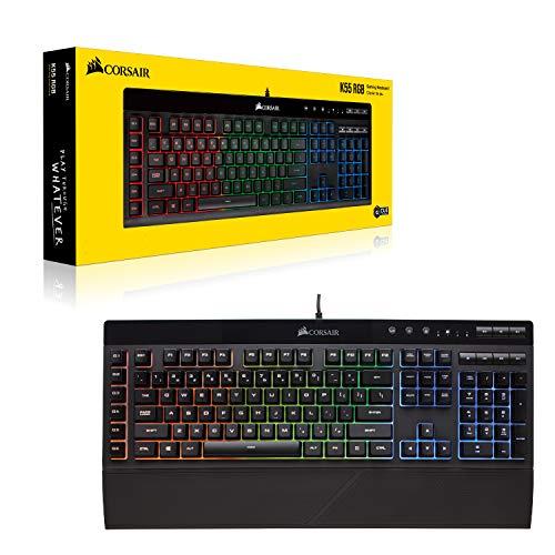 Corsair K55 RGB Membrane Gaming Keyboard [6 Programmable Macro Keys | 3 Zone RGB | Multimedia Controls | UK Layout] - £44.97 @ Amazon