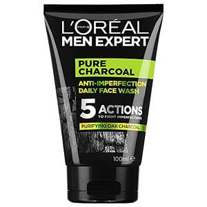L'Oréal men's charcoal face wash, £2.49 (+£4.49 Non Prime) / or S&S with 15% rate and voucher £1.62 @ Amazon