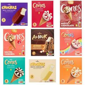 Ice Cream Cones, Amour & Chockas - Strawberry,Chocolate,Salted Caramel,Mint,Toffee,Rasberry - Any 2 Boxes for £1.50 @ Morrisons