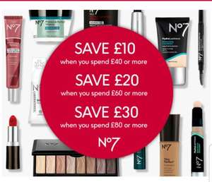Save £10 when you spend £40, Save £20 when you spend £60 or Save £30 spend £80 on selected No7 online only @ Boots