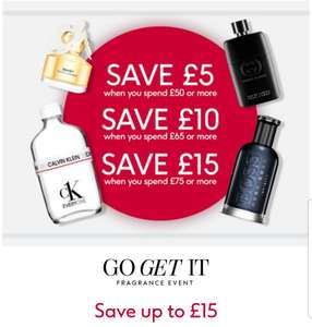 Save £5 when you spend £50, save £10 when you spend £65 and save £15 when you spend £75 on selected fragrance @ Boots