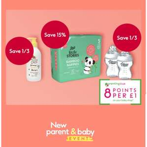 New Parents and Baby Event save 1/3 & 15% off on selected Baby products, 8 points per £1 many more offers (£1.50 click and collect) @ Boots