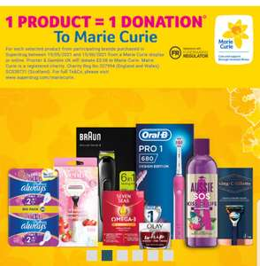 Every purchase of selected P&G products - 1 product = 1 donation of 6p to Marie Curie - click and collect free @ Superdrug