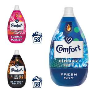 Comfort Ultimate Care Fuchsia Passion/fresh sky/Heavenly nectar Ultra-Concentrated Fabric Conditioner 58 Wash 870ml £2.50 @ Iceland
