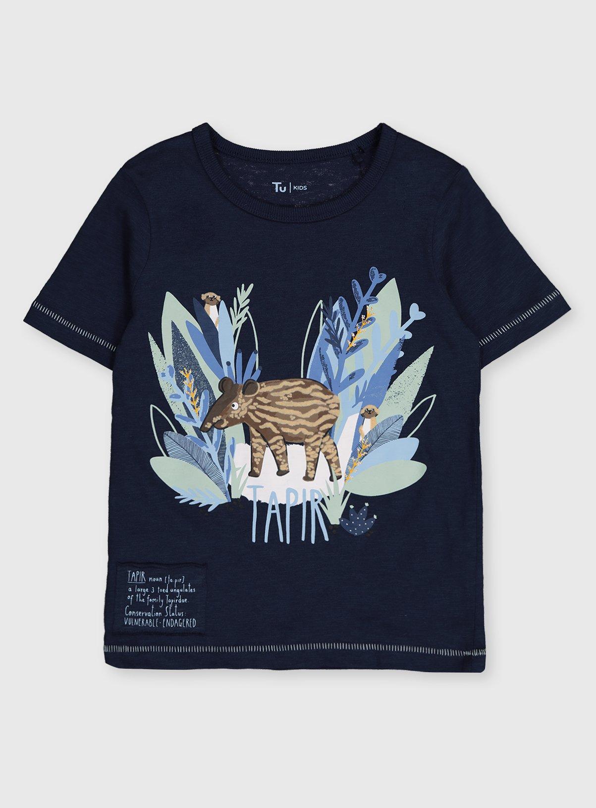 Kids Navy Endangered Species Tapir T-Shirt 100% Cotton £2 - £2.25 (Click & Collect) @ Argos