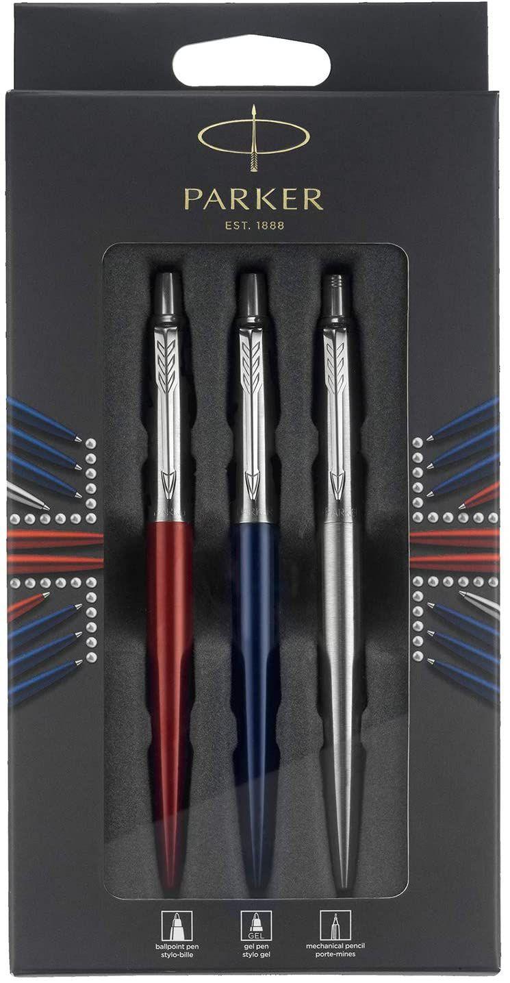 Parker Jotter London Trio Discovery Pen (Royal Blue), Gel Pen (Red Kensington) & Pencil (S/ Steel) £9.93 (£4.49 p&p non prime) @ Amazon
