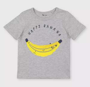 Kids Grey 'Happy Banana' T-Shirt £1.25 -£1.75 with Free Click and collect from Argos