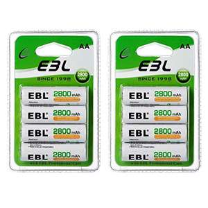 8 x EBL 2800mAh AA Rechargeable Batteries - £8.39 with 40% voucher (+£4.49 Non Prime) @ Sold by EBL Official and Fulfilled by Amazon.