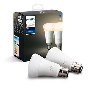 Philips Hue White Smart Bulb Twin Pack LED with Bluetooth [B22 Bayonet Cap] - £15.78 (+£4.49 non prime) at Amazon