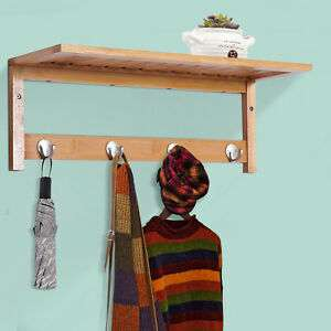 Hallway Wall Mounted Bamboo Shelf with hooks £13.59 Delivered From mhstarukltd / eBay