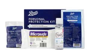 Boots Personal Protection Kit - 3 x face masks, 1 x hand sanitiser, 3 x gloves, 12 x wipes 65p + £1.50 Click & Collect at Boots