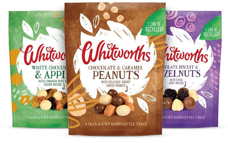 Whitworths Chocolate & Caramel Peanuts, White Chocolate & Apple Cinnamon Raisins, Choc Biscuits & Hazelnuts & Juicy Raisins 130g- £1 @ Asda