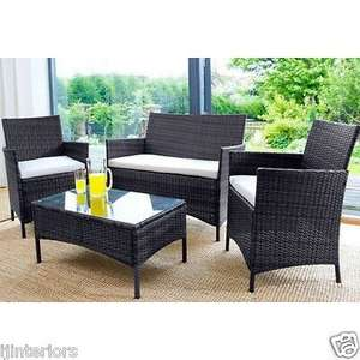 Giomani Designs Rattan Garden Furniture 4 Piece Patio Set (Chairs, Sofa, Table) in Brown or Black £170.95 (UK Mainland) @ ijinteriors / eBay