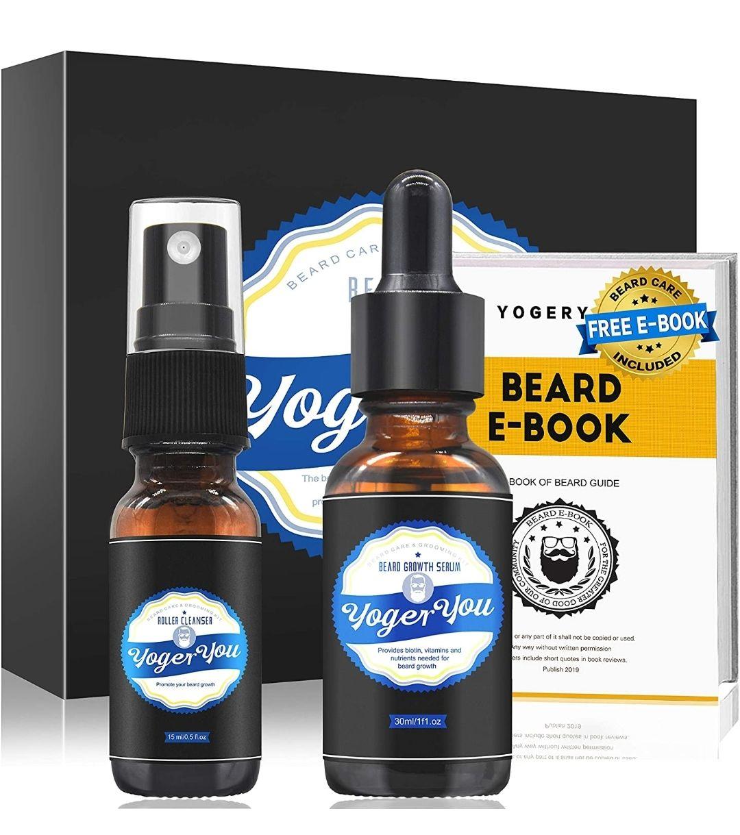 Beard Growth Kit, w/Beard Oil, Beard Roller, Roller Cleaner, E-Book, Beard Grooming Kit - £2.72 (+£4.49 Non Prime) @ Sold By YEWE FBA