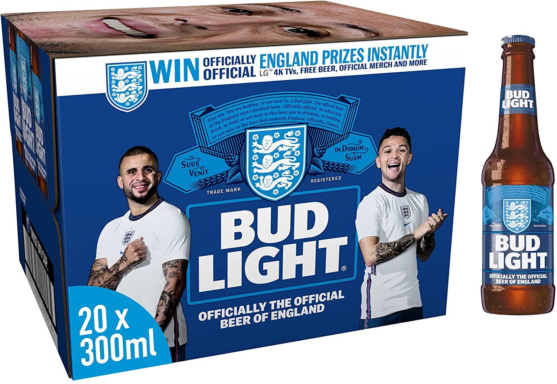 Bud Light Lager Beer Bottle, 20 x 300 ml - £9.97 (+£4.49 Non Prime) @ Amazon