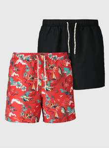 Black & Red Tropical Shortie Swim Shorts 2 Pack - £5.40 Free Click and collect Selected Stores at Argos