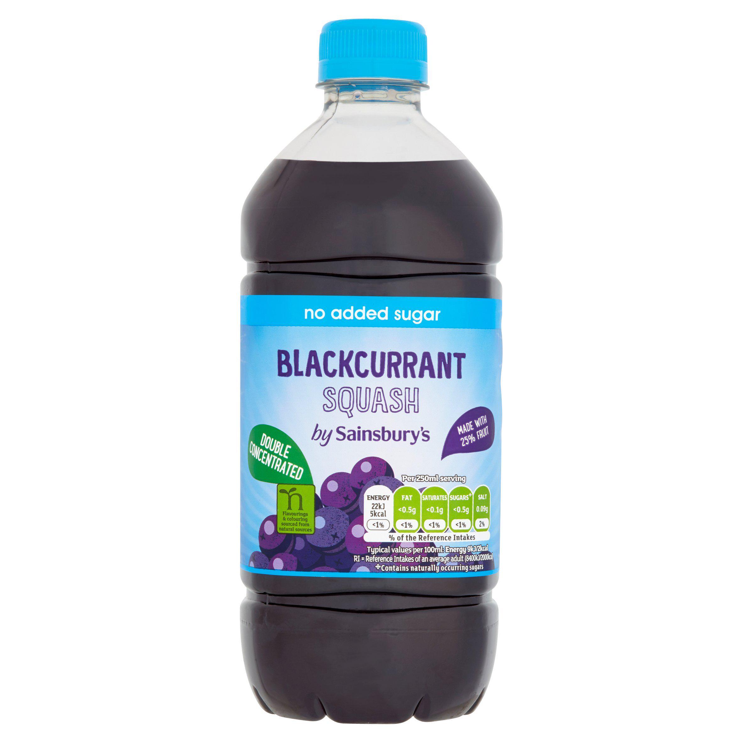 Sainsbury's Double Strength Blackcurrant Squash 750ml, No Added Sugar 43p @ Sainsbury's Cromwell Rd London