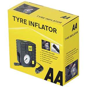 AA 12 V Compact Tyre Inflator AA5007 – For Cars Other Vehicles Inflatables Bicycles with adapter - £8 (+£4.49 non prime) @ Amazon