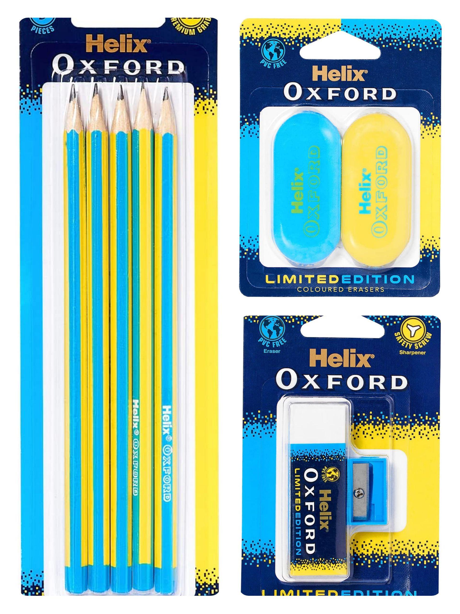 Helix Oxford Clash Twin Pack of Erasers - Blue 89p/ Eraser & sharpener 89p/pencils 92p (£4.49 p&p non prime) Amazon