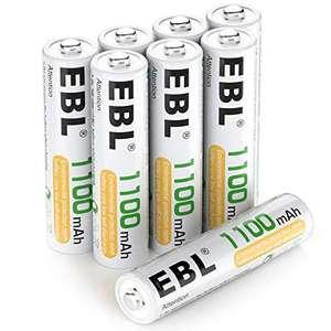 EBL AAA Rechargeable Batteries 1100mAh, 8 Pack AAA Batteries with Storage Cases - £6.79 (+£4.49 NP) @ Sold by EBL Official and FBA