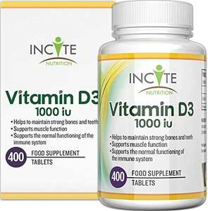 Vitamin D 1000iu | 400 Premium Vitamin D3 Easy-Swallow Micro Tablets - £5.77 (+£4.49 NP) @ Sold by Incite Nutrition and Fulfilled by Amazon.