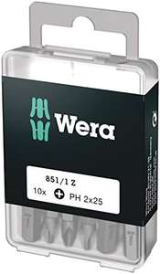 Wera 05072401001 Phillips Extra-Tough Bits 851/1 Z PH2 x 25 mm, Pack of 10 - £4.53 (+£4.49 non-prime) @ Amazon