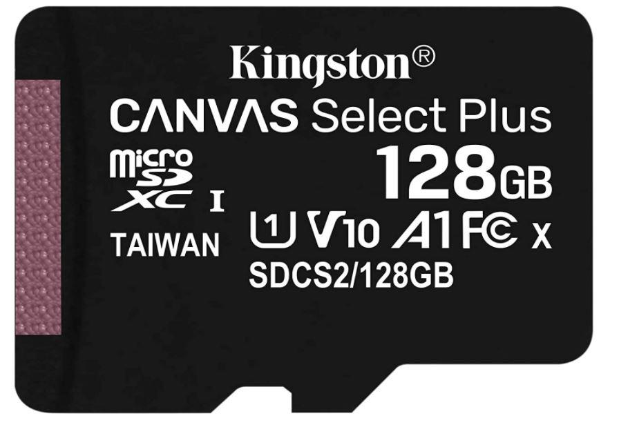 128GB - Kingston Canvas Select Plus microSD Card SDCS2/128GBSP Class 10 A1 - £10.98/ £11.49 with SD CARD Prime/+£4.49 Non Prime @ Amazon