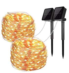 Solar String Lights, 2 Pack 100 LED Solar Fairy Lights 33 ft 8 Modes £10.70 prime / £15.14 non prime Sold by HJing and Fulfilled by Amazon.