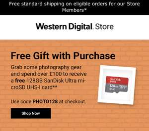 Free 128GB Sandisk Ultra Micro SD UHS-1 card when you spend £100 or more @ Western Digital