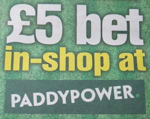 Free £5 in shop Bet at Paddy Power via The Sun Newspaper 85p @ Tesco