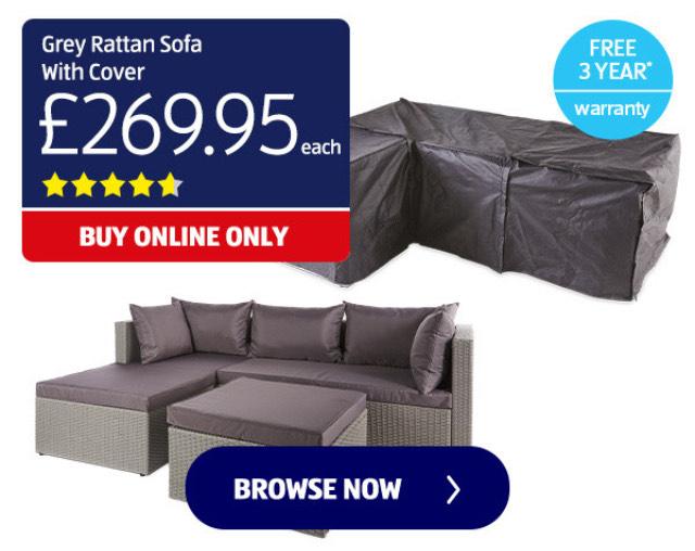 Aldi Rattan Effect Sofa with Grey Cover £269.95 + £9.95 delivery @ Aldi