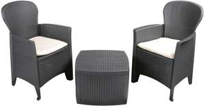 Rattan Garden Furniture Patio Set Table & Chairs Set 2 Garden Chairs & Cushions - £104.49 delivered with code @ Cheerfulbargainsltd / eBay