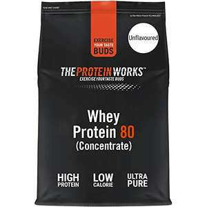 The Protein Works 2kg Unflavoured Whey Protein (80 concentrate) £19.29 + £4.49 NP (£18.33 S&S + 20% Voucher on first S&S) @ Amazon