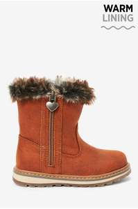 Kids Tan Warm Lined Charm Zip Boots now £8 + free Click and Collect at Next