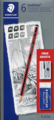 Staedtler 6 xTradition Sketching Pencil + Mars Plastic Eraser +Metal Sharpener - £2.12 (+£4.49 Non Prime) @ Amazon