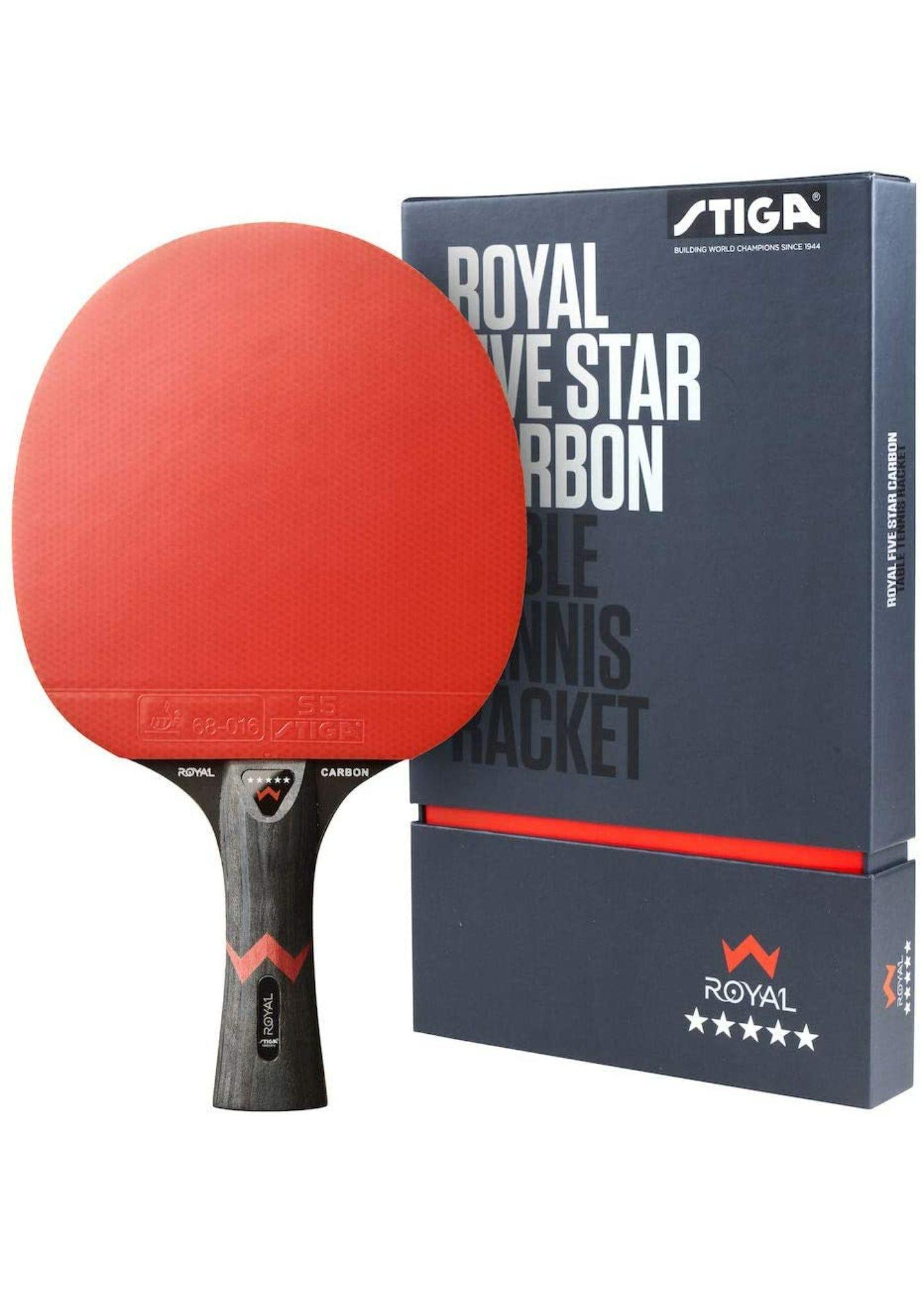 Stiga Royal 5-Star Table Tennis Pro Carbon Ping Pong Bat, Black/Red - £52.60 @ Amazon