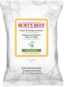 Burt'S Bees Facial Cleansing Towelettes sensitive 30 Wipes £2.68(£4.49 p&p non prime) 25% voucher and subscribe & save £2.05 @ Amazon