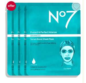 No7 Protect & Perfect Intense ADVANCED Serum Boost Sheet Masks £6.25 or 3 For £12.50 ( +£1.50 click and collect @ Boots )