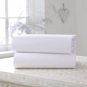 Clair de Lune Cot Bed Cotton Jersey Fitted Sheets (Pack of 2, White) £4.87 (+£4.49 Non Prime) @ Amazon