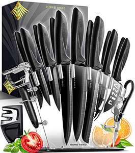 Home Hero 13 Stainless Steel Knives + Acrylic Stand, Scissors, Peeler & Knife Sharpener £20 Sold by Yellapro Limited and Fulfilled by Amazon