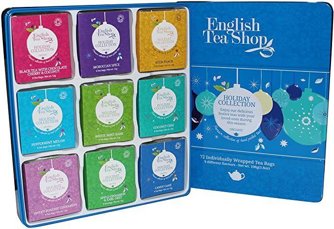 English Tea Shop Organic Holiday Blue Baubles Tin 72 tea bags, 9 varieties £3.96 (+4.99 del Non Prime) @ Amazon