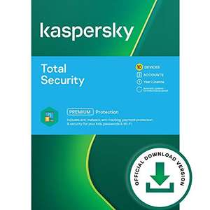 Kaspersky Total Security 2021 | 10 Devices | 1 Year | Antivirus, Secure VPN and Password Manager Included £22.95 Sold by Amazon EU @ Amazon