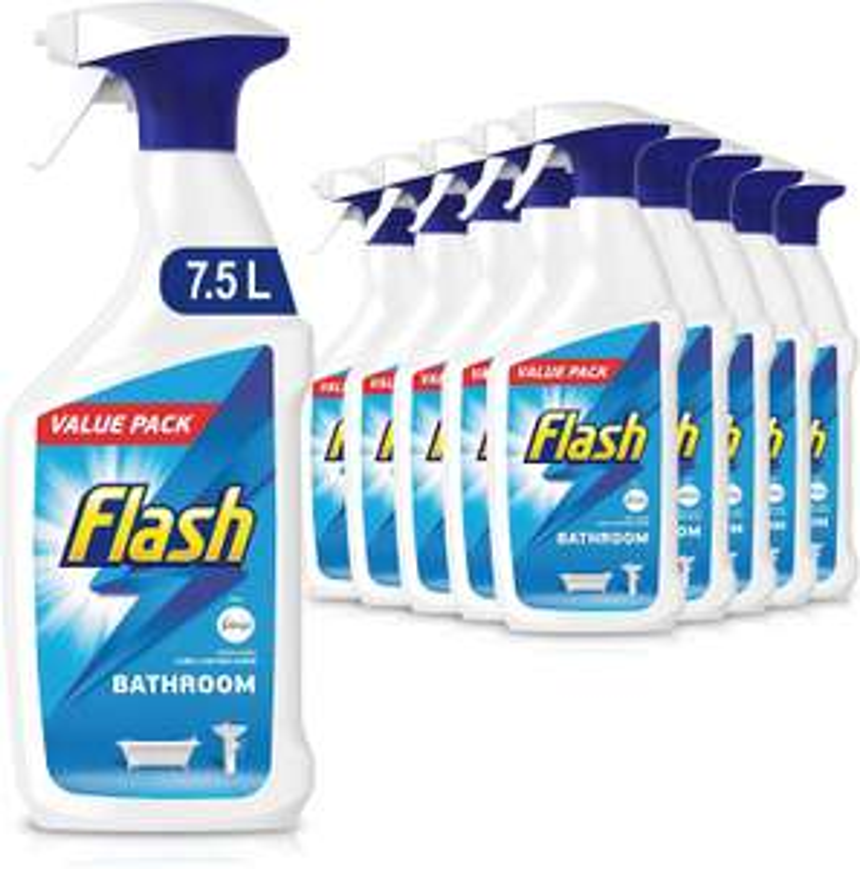Flash Bathroom Cleaner Spray Long Lasting Shine, Fresh, 7.5 Litres (750 ml x 10) £10.31 (£4.49 p&p non prime) £8.76/£9.79 s&s @ Amazon