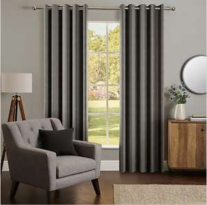 """Chenille Stripe Eyelet Curtains - 75% off at Dunelm with free C&C (£3.95 delivery). Various colours and sizes eg graphite 90""""x90"""" £16.25"""