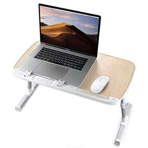 TaoTronics foldable portable laptop table in white - height & angle adjustable for £19.99 delivered using code @ SunvalleytekUK / Amazon