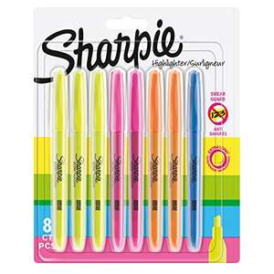 Sharpie Pocket Highlighters   Chisel Tip   Assorted Fluorescent   8 Count - £3 / (+£4.49 Non Prime) delivered @ Amazon