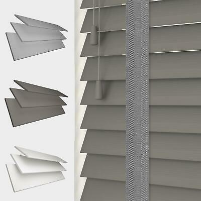 FAUX WOOD TAPE VENETIAN BLINDS 50MM SLATS WHITE GREY Various sizes £20.99 - £119.99 @ theblindsoutlet / eBay